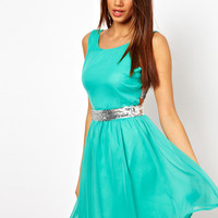 Paprika Chiffon Skater with Multi Sequin Straps