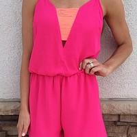 Fuchsia & Neon Orange Color Block Romper : Mesh