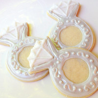 Wedding Ring Cookie Favor Diamond Silver Ring Sugar Cookie