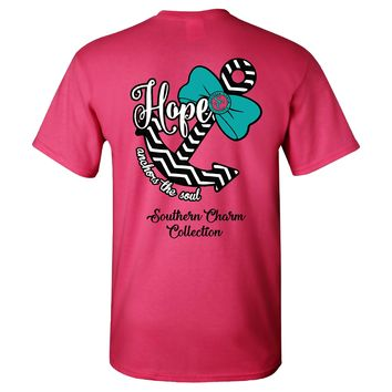 Hope Anchors The Soul Southern Charm Collection on a Pink Short Sleeve T Shirt