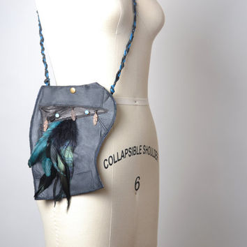 Feather Leather Purse - Upcycled Leather Medicine Bag - Leather Small Purse