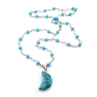 Turquoise Moon Necklace - Celestial Necklace - Wire Wrapped Chain Necklace - Boho Chic Beaded Blue Necklace - Bohemian Necklace