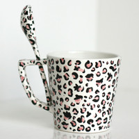 Cup and spoon duo - pink leopard print