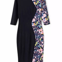 Floral Printed Midi Bodycon Dress