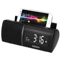 Jensen JBD100 Black Clock Radio Bluetooth with USB Charging