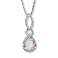 Lab-Created Opal Necklace with Diamond Accents Sterling Silver