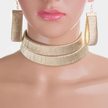 """13"""" gold 2 layer cord choker necklace 3.25"""" earrings  1.50"""" wide"""