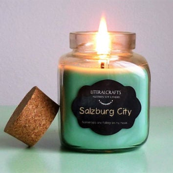 Soy Candle Rainy Salzburg, Austria soy scented candle, gift for her, natural candle, soy wax scented candle, home decor, mint decor, vegan