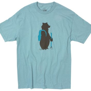 Hiking Bear on slate blue graphic tee by Altru Apparel