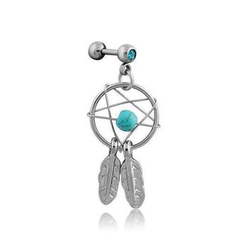 ac ICIKO2Q 2pcs/lot Dream Catcher Star Helix Tragus Cuff Ear Piercing Cartilage Stud Earring tragus body jewelry piercing earring