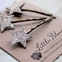 Silver Glitter Star Bobby Pins - 3 tiny Sterling Silver German Glass Glitter Stars