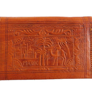 Tooled Leather Wallet, Vintage Moroccan Leather Clutch Wallet,  Tan Brown Genuine Leather Money Purse