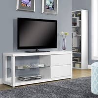 "White Hollow-Core 60""L Tv Console / Tempered Glass"