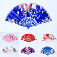 Chinese Bamboo Folding Silk HAND FAN with Flower Wedding Christmas Party Summer = 1946410052