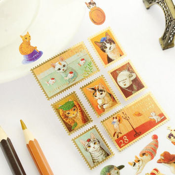 Japanese Style Cute Cat Family Bronzing Stamp Style Decorative Stickers Adhesive Stickers Scrapbooking DIY Diary Stickers