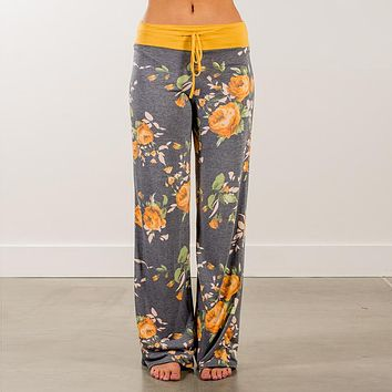 2018 Loose Women Homewear Casual Spring Pants Long Trousers  Flower Print Fashion Women Pants Pajama