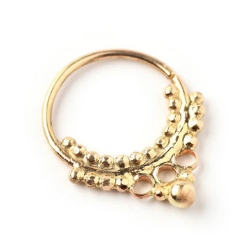 Septum ring - solid Gold - goth style - 14 karat yellow gold - gold septum - nose jewelry - septum jewelry - tragus - piercing