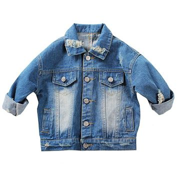1-5Yrs Baby Boys Outerwear & Coat Girls Hole Denim Jackets Coats New 2018 Fashion Spring Children Outwear Coat Kids Denim Jacket