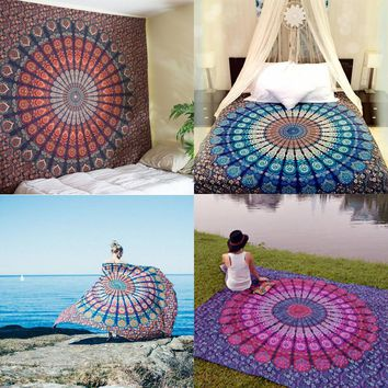 New Indian Mandala Tapestry Hippie Wall Hanging Tapestries Boho Bedspread Beach Towel Yoga Mat Blanket Table Cloth 210x148cm