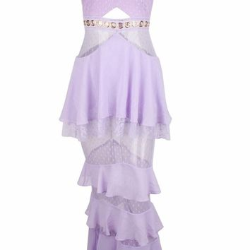 Frilled For You Purple Lace Swiss Dot Chiffon Sleeveless Spaghetti Strap Ruffle Tier Casual Maxi Dress