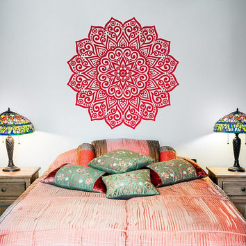 Mandala Art Decal, Boho Vinyl Decal, Wall Decal Bedroom, Wall Art Ideas, Yoga Decal, Gift for Her, Vinyl Wall Decal, Bohemian Decals  #015