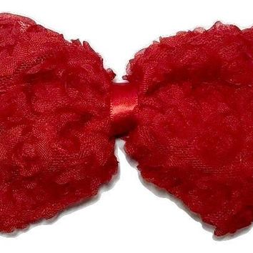 "Red 4.5"" JUMBO shabby bow"