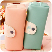 Korean Pink Blue Candy Colors Pencil Case Pu Leather School Pencil Bag For Girl Stationery Estojo Escolar School Supplies