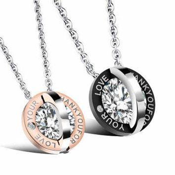 Mens Stainless Steel Chain Round Inlaid Crystal Love Titanium Steel Couple Necklace Korean Ladies Fashion Trendy Paired Pendant