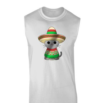 Sombrero and Poncho Cat - Metallic Muscle Shirt  by TooLoud