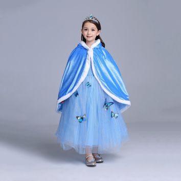 Princess Costume - Pale Blue Elsa Long Cape - 👗💘👑🎃👠