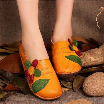 Handmade Leather Flat Slip ons for Women with Flowers,Loafer Shoes Yellow/Green, Flat Shoes, Leather Sandals, Summer Shoes Sandals for Women