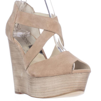 MICHAEL Michael Kors Ariel Wedge Platform Sandals - Dark Khaki