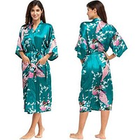 Silk Kimono Robe Bathrobe Women Satin Robe Silk Robes Night Robes Night Grow For Bridesmaid Summer Plus SizeS-XXXL 010412