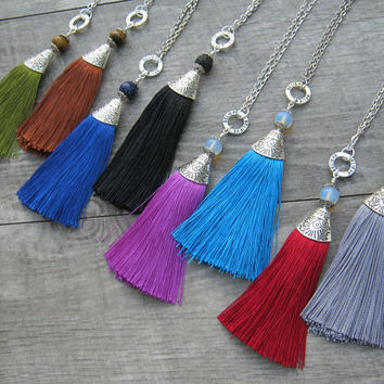 "CHOOSE Your Silk Tassel Necklace, LONG 4.5"" Tassel Pendant, Believe Tassel, Gemstone Tassel, Festival Boho Necklace, Fiber Tassel Pendant"