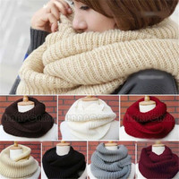 Men Women Warm Infinity 2 Circle Cable Knit Cowl Neck Long Scarf Shawl Neck Gift = 1958135044