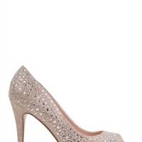 Peep Toe Glitter Platform Pumps with Stone Accents