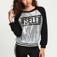 Selfie Sequin Sporty Sweater