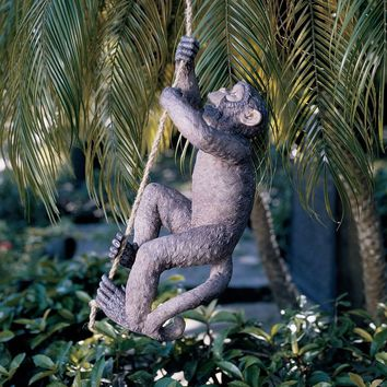Outdoor Monkey Garden Statue Climbing Hemp Rope