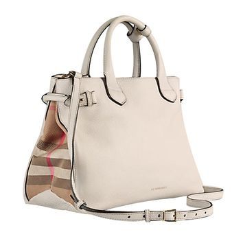 Tote Bag Handbag Authentic Burberry Medium Banner in Leather and House Check Natural Item 39589791
