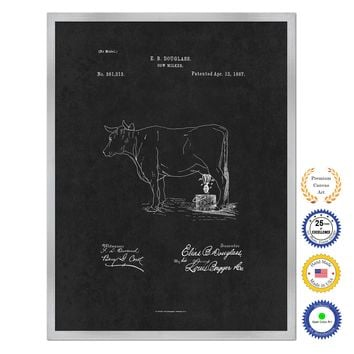 1887 Farming Cow Milker Antique Patent Artwork Silver Framed Canvas Home Office Decor Great for Farmer Milk Lover Cattle Rancher