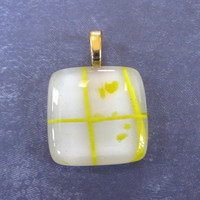 Yellow Pendant, Fused Glass Pendant, Omega Slide, Yellow and White Jewelry, Large Gold Bail - Crossroads - 3628 -2