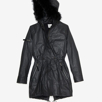 SAM EXCLUSIVE Raccoon Fur Collar Hudson Jacket: Black-Jackets + Outerwear-Clothing-Categories- IntermixOnline.com