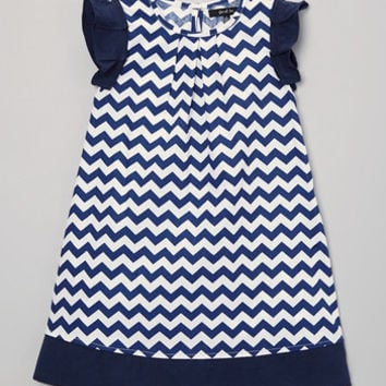 Navy Chevron Cap-Sleeve Dress