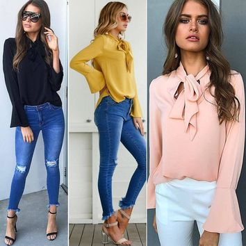 Women Casual Loose Blouse Top Long Sleeve T Shirt Tee Tops
