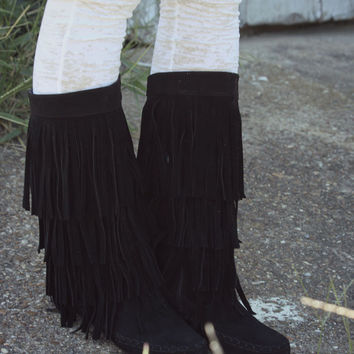 On The Fringe Black Tall Flat Boots