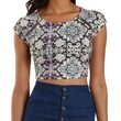 Purple Combo Zipper-Trim Paisley Print Cropped Tee by Charlotte Russe
