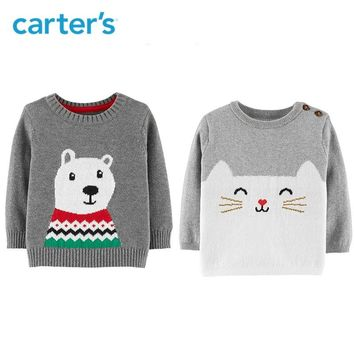 Carter's Christmas Polar Bear Pullover Autumn winter long sleeve knitted sweater baby girl baby boys clothes 127H318/127H323