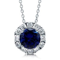 Round Cut Sapphire CZ 925 Sterling Silver Solitaire Pendant Necklace #n1052-SP