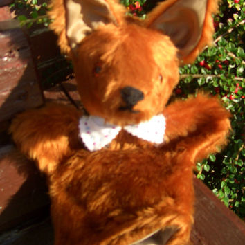 Furry Fox Hand Puppet-Chestnut Plush Fabric -White Felt Collar Trim-Activity Toy-Boy or Girl-Christmas Idea-Birthday Gift-Stocking Stuffer