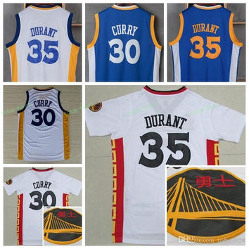 Best Quality 35 Kevin Durant Chinese Jersey 2017 New Year 30 Stephen Curry Shirt Uniforms Fashion Breathable Pure Cotton Hot Selling